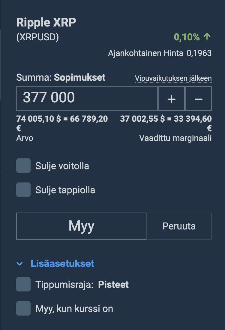 Plus500 Käyttöliittymä