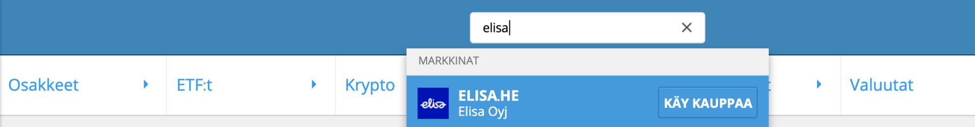 Hae Elisa-osakkeita eToro