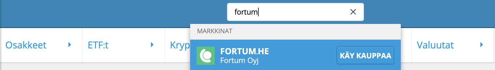 Etsi Fortum eTorosta