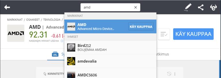 Etsi AMD-osakkeita