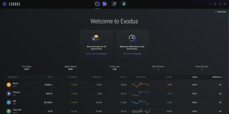Exodus wallet desktop