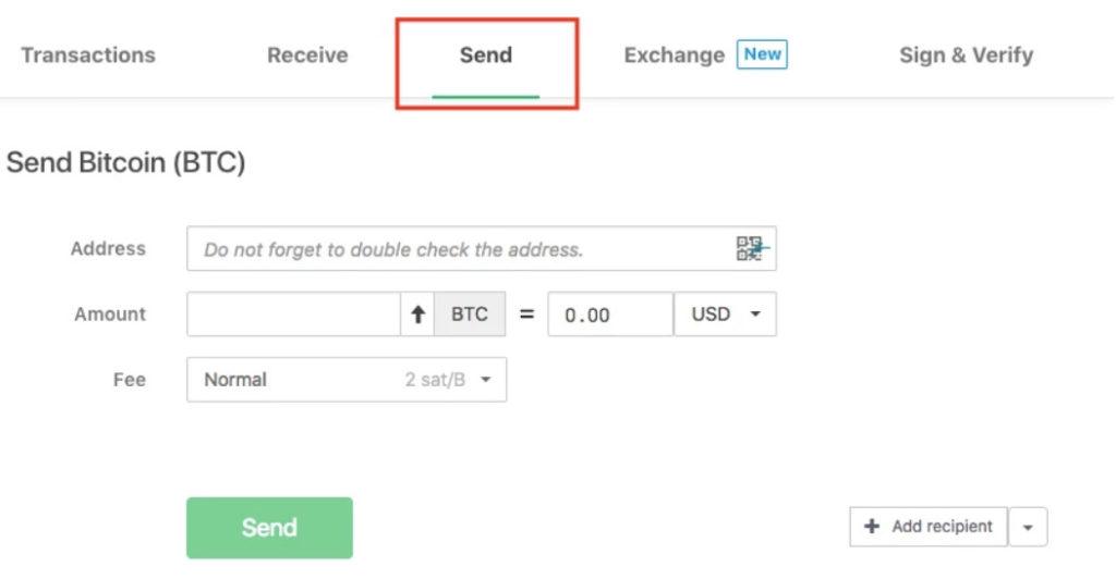 Lähetä Bitcoin kanssa Trezor wallet