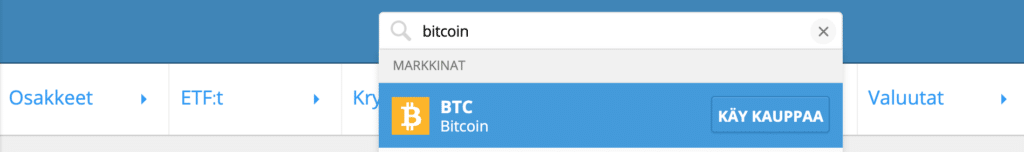 Etsi Bitcoinia eTorosta