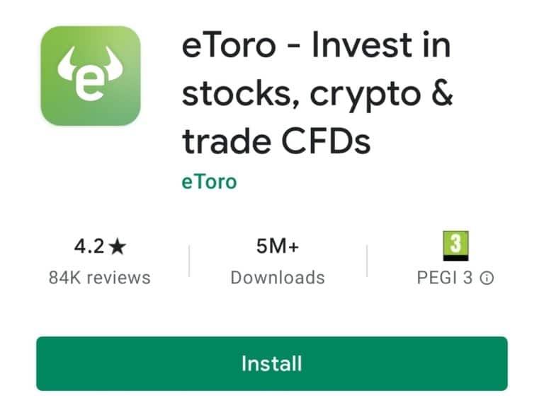 Lataa eToro-sovellus Bitcoinille